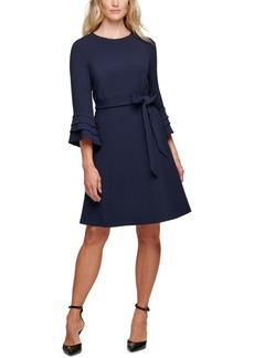 Dkny Belted Fluted-Sleeve Dress
