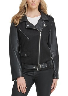 Dkny Belted Mixed-Media Moto Jacket