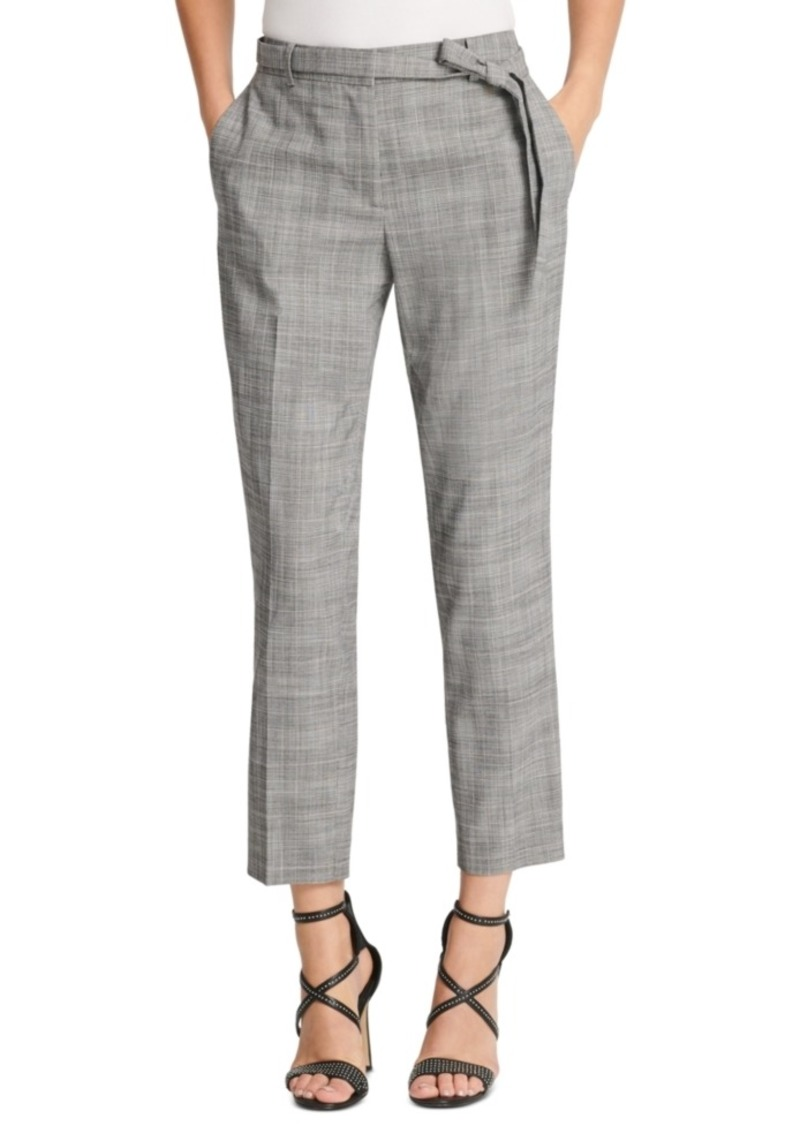 Dkny Belted Essex Ankle Plaid Pant