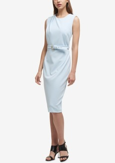 Dkny Belted Pleated-Shoulder Dress, Created for Macy's