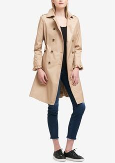 Dkny Belted Ruffle-Sleeve Trench Coat