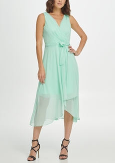 Dkny Belted Sleeveless Faux Wrap Dress