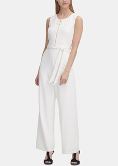 Dkny Belted Zip-Front Jumpsuit, Created for Macy's