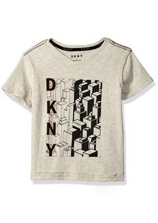 DKNY Boys' Big V-Neck Short Sleeve T-Shirt with City Graphic Screen Print  10/12