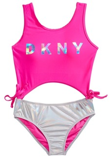 Dkny Big Girls 1-Pc. Cut Out Two-Tone Swimsuit