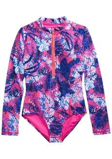 Dkny Big Girls 1-Pc. Long-Sleeve Printed Swimsuit