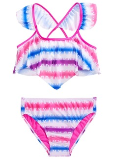 Dkny Big Girls 2-Pc. Rainbow Stripe Logo-Print Bikini