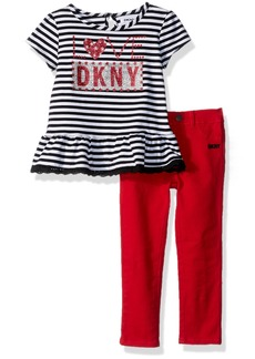 DKNY Big Girls' Fashion Top and Pant Set (More Styles Available) 1050DG Medium Grey