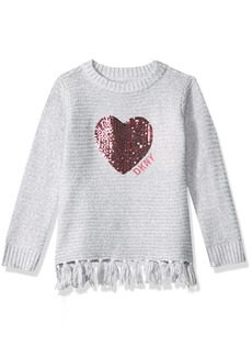 DKNY Big Girls' Long Sleeve Sweater with Fringe Hem Grey Heather with Silver Lurex