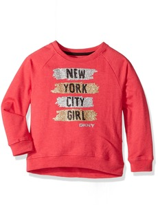 DKNY Big Girls' Long Sleeve Sweatshirt (More Styles Available) 1043DG Raspberry Heather