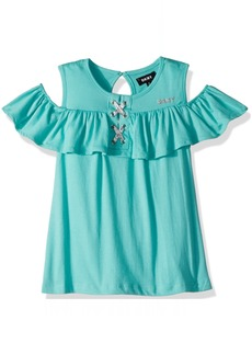DKNY Big Girls' Tank Or Cami Shirt Lace up Ruffle Turquoise