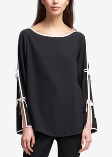 Dkny Boat-Neck Contrast Tie-Sleeve Top, Created for Macy's