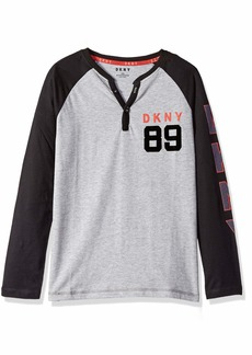 DKNY Boys' Big Long Raglan Sleeve Color Block Jersey Henley Shirt
