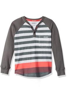 DKNY Boys' Big Long Sleeve Color Block and Stripe Pocket Henley Shirt