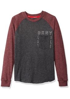DKNY Boys' Big Long Sleeve Slub Heather Jersey Crew Neck Pocket T-Shirt Black 10/12