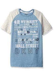 DKNY Boys' Big Short Sleeve Color Block Crew Neck Street Names T-Shirt  18/20