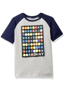 DKNY Boys' Big Short Sleeve Color Block Crew Neck T-Shirt