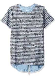 DKNY Boys' Big Short Sleeve Hi-Lo Crew Neck Jersey T-Shirt