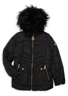 DKNY Girl's Faux Fur Trimmed Puffer Coat