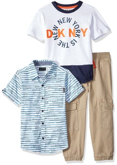 DKNY Boys' Little City Sport T-Shirt and Twill Pull-On Cargo Pant
