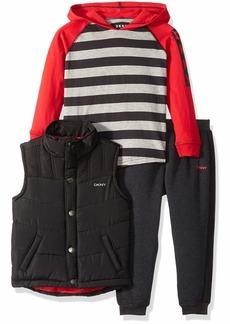DKNY Boys' Little Clark Puffer Vest Hoodie and Jog Pant