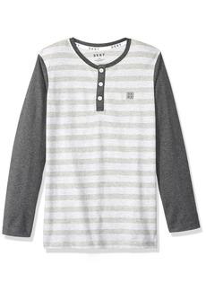 DKNY Boys' Little Long Sleeve Color Block and Microstripe Henley Shirt