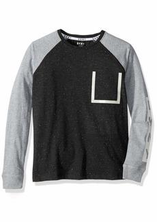 DKNY Boys' Little Long Sleeve Cotton Fleck Jersey Pocket T-Shirt