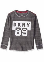 DKNY Boys' Little Long Sleeve Flocked Art Crew Neck T-Shirt