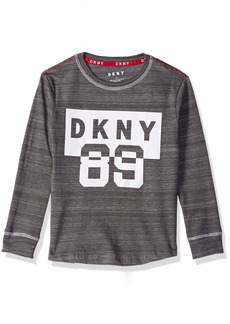DKNY Boys' Little Long Sleeve Flocked Art Crew Neck T-Shirt