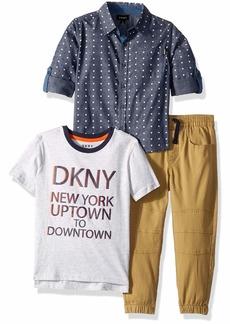 DKNY Boys' Little Park Avenue Sport T-Shirt and Twill Jog Pant
