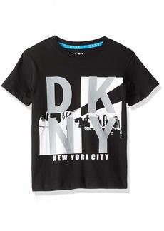 DKNY Boys' Little Short Sleeve Crew Neck New York City Reflective T-Shirt