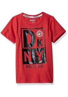 DKNY Boys' Little Short Sleeve Heather Jersey Crew Neck T-Shirt