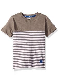 DKNY Boys' Little Short Sleeve Slub Henley