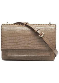 Dkny Bryant Croco Leather Chain Flap Crossbody, Created For Macy's