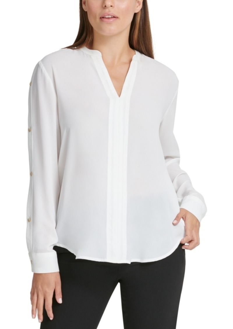 Dkny Buttoned-Sleeve Pleated-Placket Top