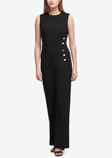 Dkny Buttoned Sleeveless Jumpsuit, Created for Macy's