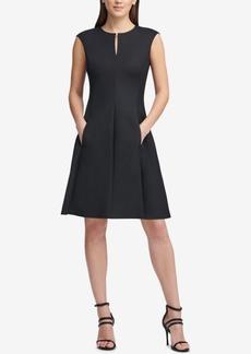 Dkny Cap-Sleeve Keyhole Fit & Flare Dress, Created for Macy's