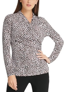 Dkny Cheetah-Print Surplice-Neck Top