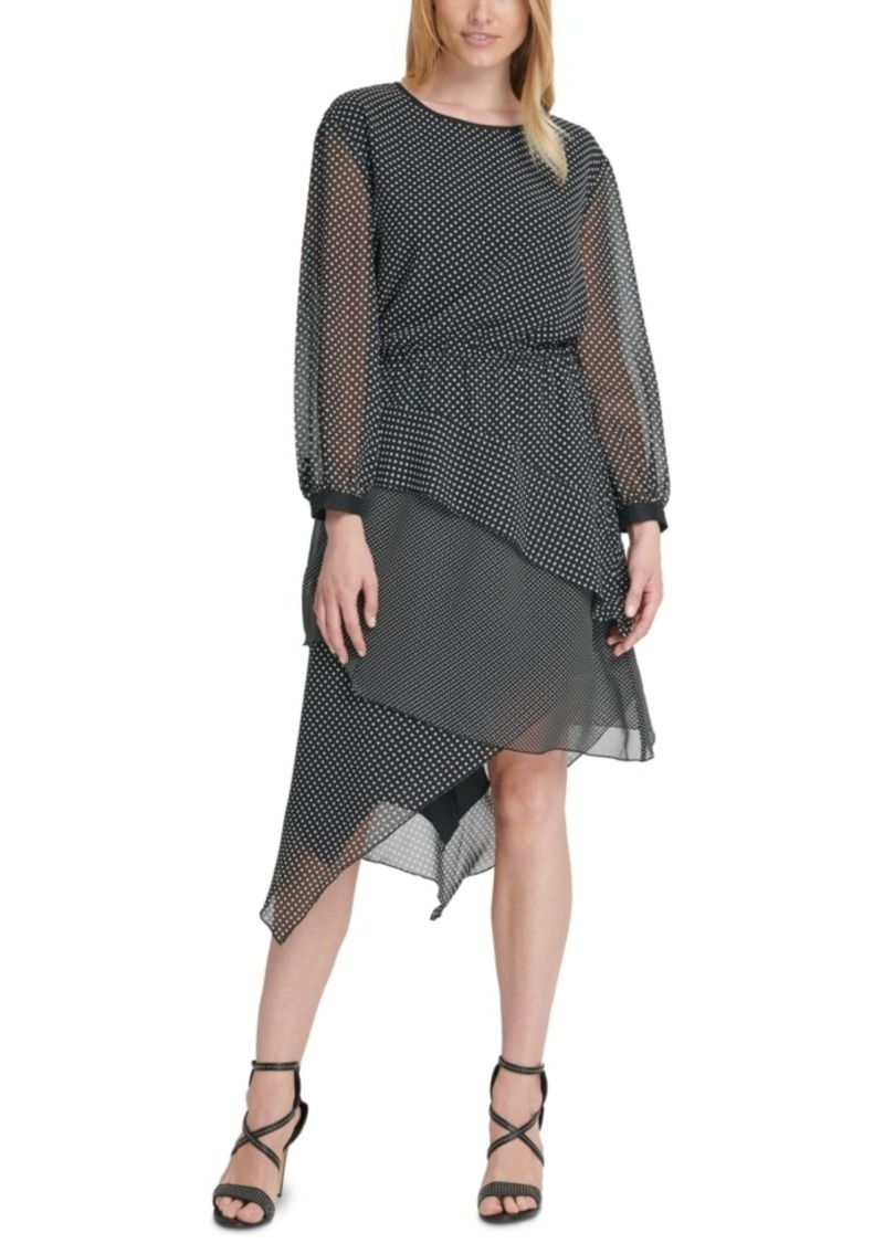 Dkny Chiffon Asymmetrical-Tier Dress