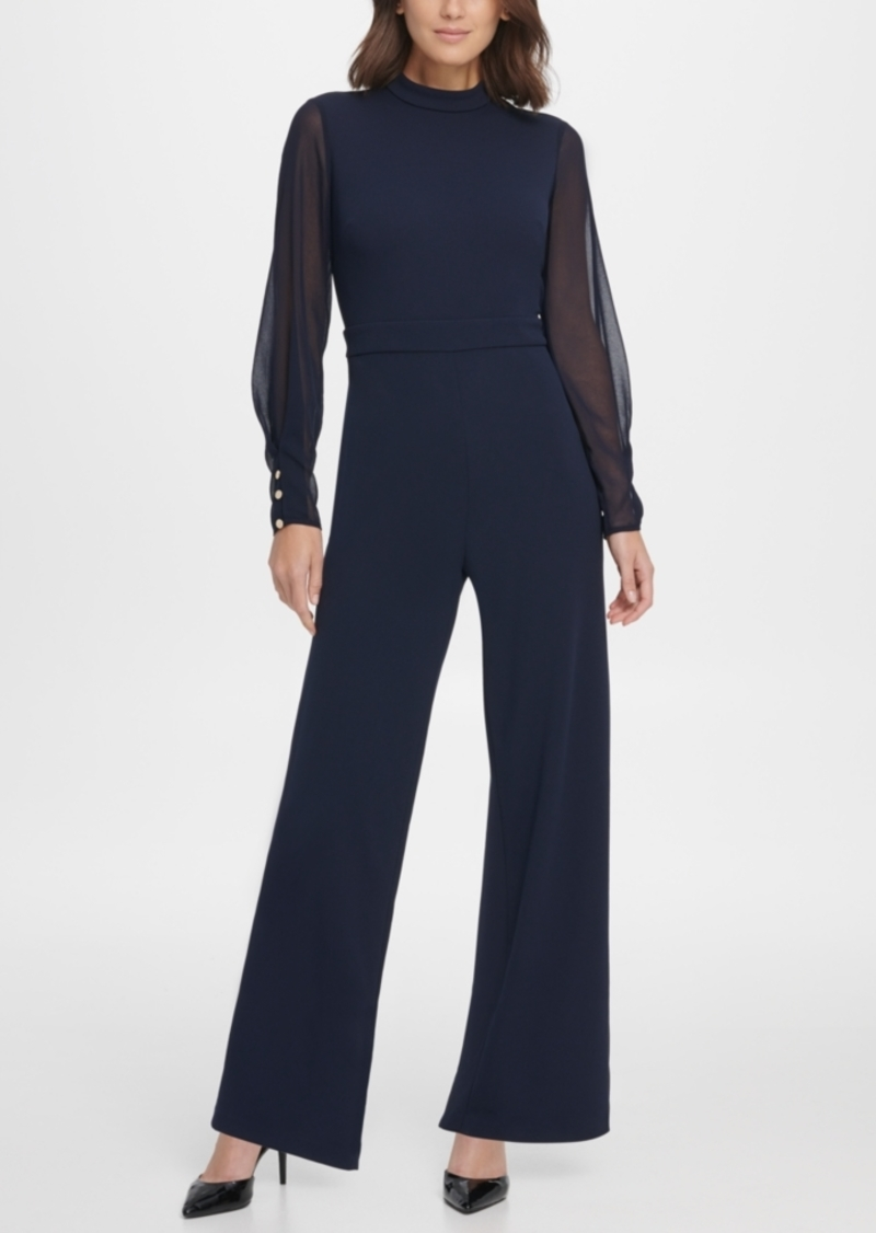 Dkny Chiffon Sleeve Mock Neck Jumpsuit