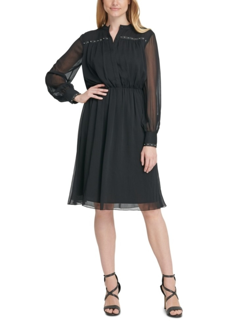 Dkny Chiffon Studded Sheer-Sleeve Dress