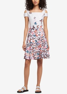 Dkny Cold-Shoulder Butterfly-Print Dress, Created for Macy's