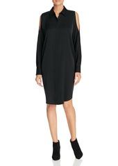 DKNY Cold Shoulder Silk Shirt Dress - 100% Exclusive