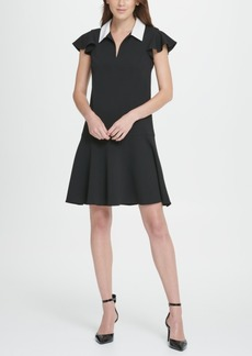 Dkny Collared Flutter Sleeve Fit Flare Dress
