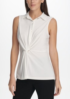 Dkny Collared Knot-Front Top