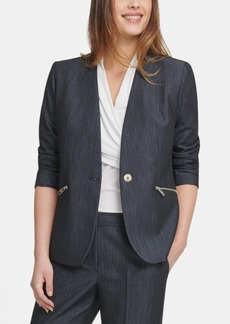 Dkny Petite Collarless Denim One-Button Jacket