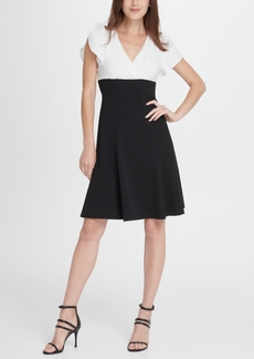Dkny Colorblock Tulip Sleeve Fit Flare Dress