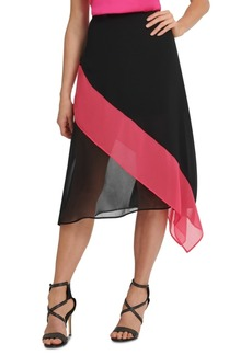 Dkny Colorblocked Asymmetrical Skirt