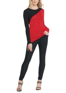 Dkny Colorblocked Asymmetrical Sweater