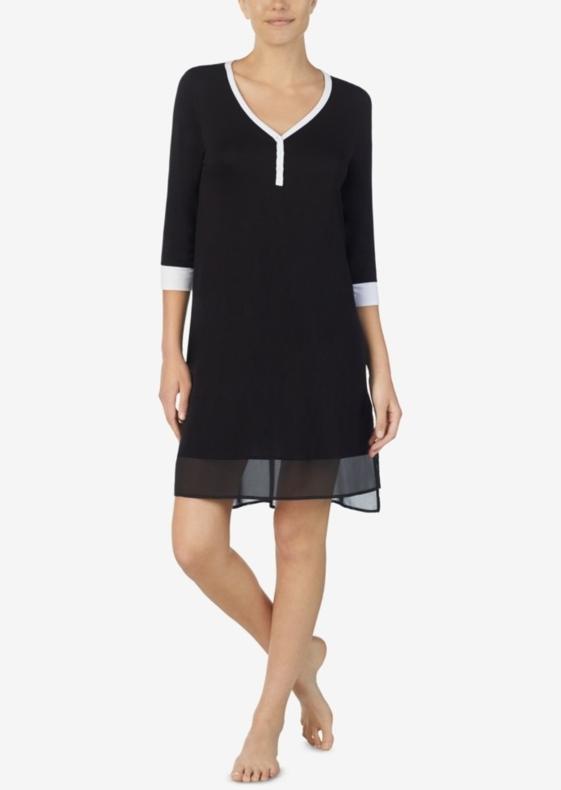 Dkny Women's Colorblocked Chiffon-Hem Sleepshirt Nightgown